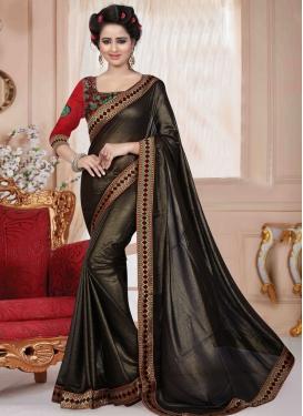 Preferable Black Color Lace Work Casual Saree