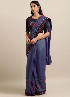 Preferable Embroidered Blue Saree