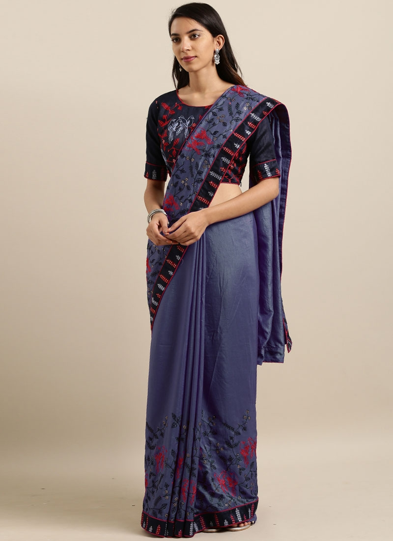 Preferable Embroidered Blue Saree