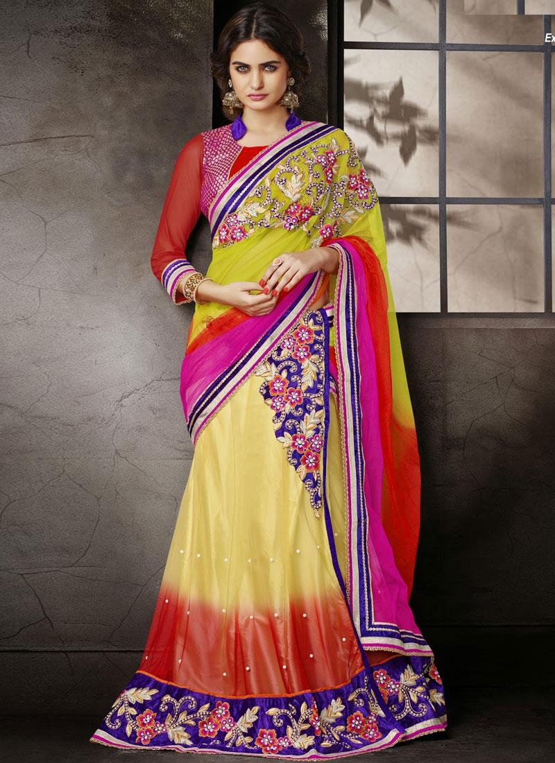Preferable Resham And Beads Work Net Lehenga Style Saree
