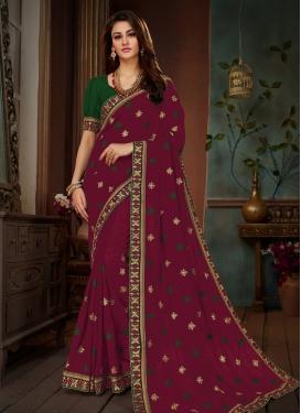 Prepossessing Art Silk Magenta Traditional Designer Saree