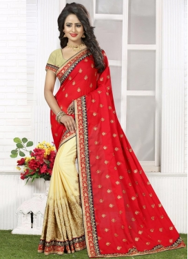 Prepossessing Bamberg Georgette Cream and Red Half N Half Saree