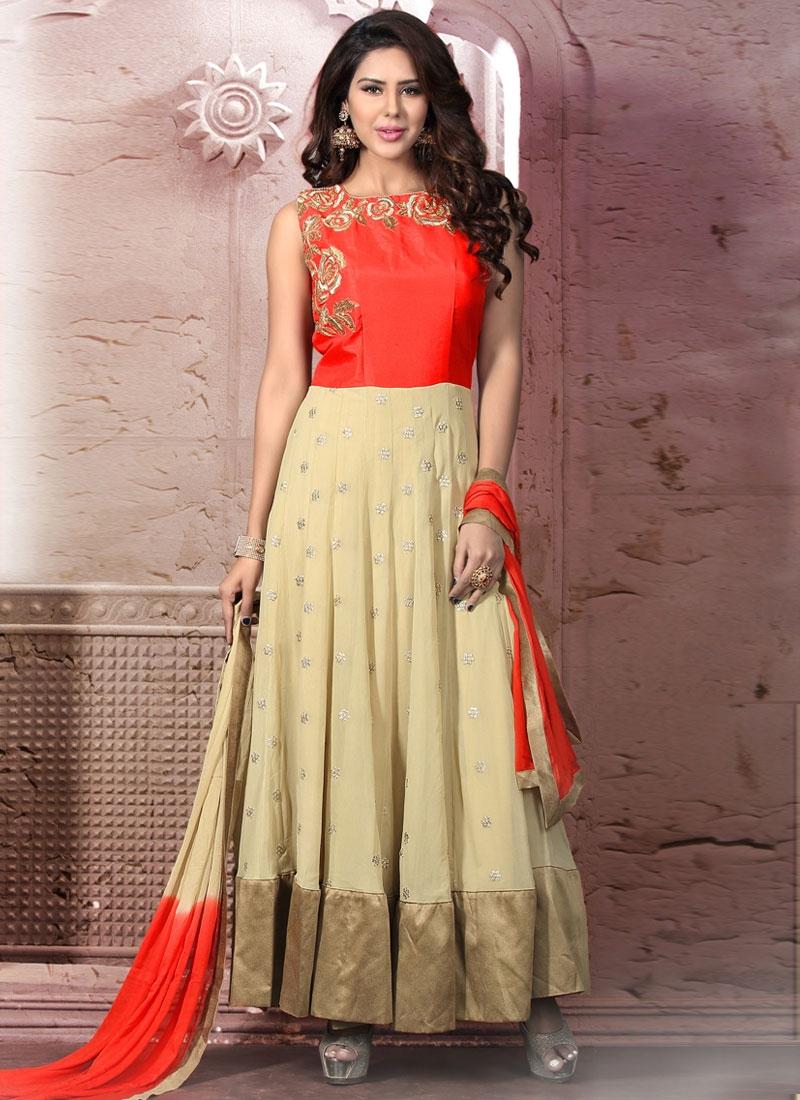 Pretty Cream And Red Color Readymade Wedding Salwar Kameez