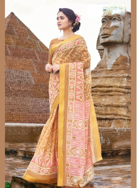 Pretty Print Brown Printed Saree