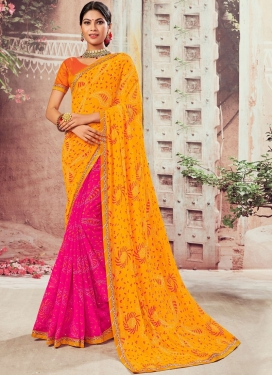 Pretty Rose Pink and Mustard Designer Half N Half Saree