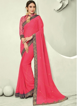 Pretty Rose Pink Trendy Saree