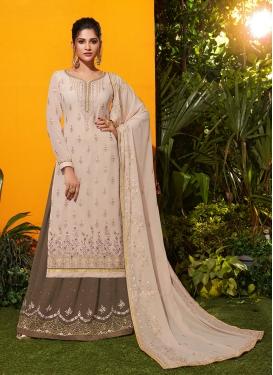 Princely Georgette Cream Embroidered Designer Salwar Kameez
