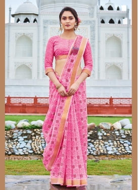 Print Faux Chiffon Printed Saree in Hot Pink