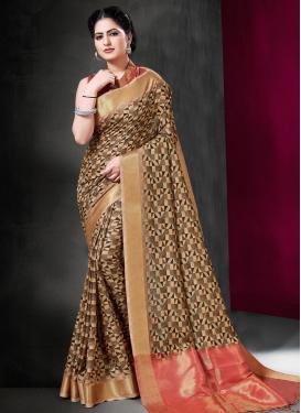 Print Work Art Silk Designer Contemporary Saree