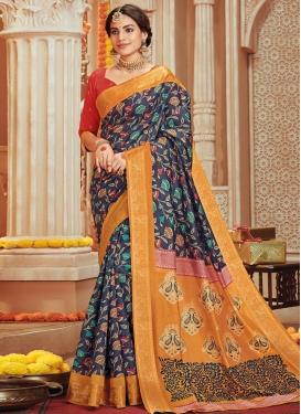 Print Work Art Silk Designer Contemporary Style Saree