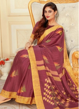 Print Work Art Silk Designer Contemporary Style Saree