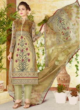 Print Work Beige and Brown Pant Style Straight Salwar Suit