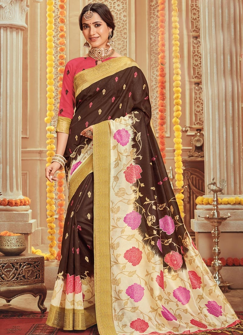Print Work Brown and Cream Contemporary Style Saree