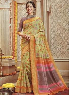 Print Work Brown and Mint Green Designer Contemporary Saree