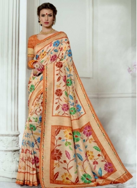 Print Work Classic Saree For Festival