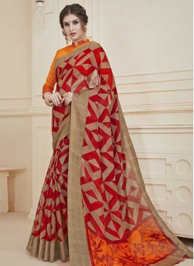 Print Work Contemporary Saree For Casual