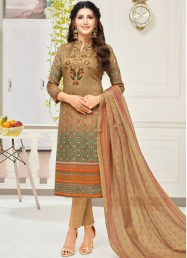 Print Work Cotton Brown and Sea Green Pant Style Salwar Suit
