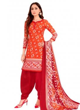 Print Work Cotton Orange and Red Semi Patiala Salwar Kameez