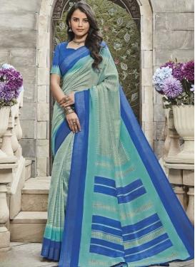 Print Work Cotton Silk Aqua Blue and Blue Contemporary Style Saree