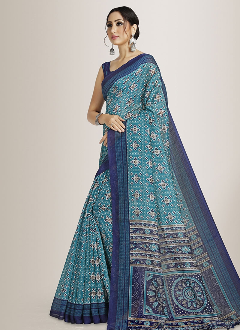 Print Work Cotton Silk Trendy Classic Saree For Casual