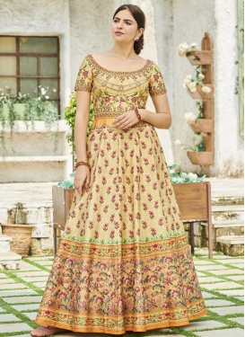 Print Work Floor Length Trendy Gown
