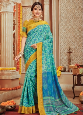 Print Work Gold and Turquoise Trendy Saree