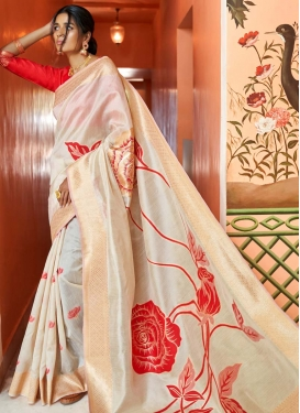 Print Work Handloom Silk Trendy Saree