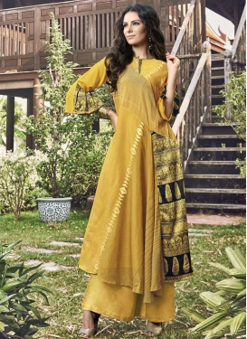 Print Work Jacquard Silk Readymade Long Length Gown