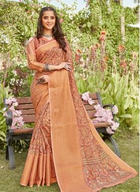 Print Work Linen Trendy Classic Saree
