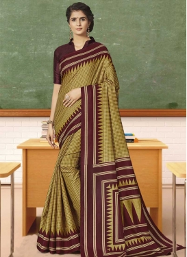 Print Work Maroon and Olive Traditional Saree