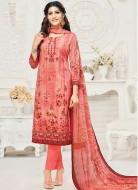 Print Work Pant Style Straight Suit For Casual