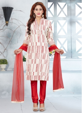 Print Work Readymade Churidar Suit