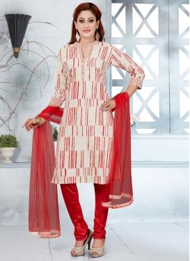 Print Work Readymade Churidar Suit