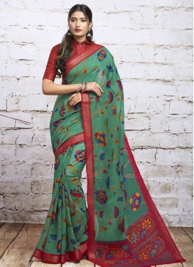 Print Work Red and Sea Green Trendy Classic Saree