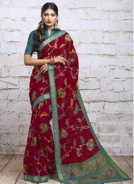 Print Work Red and Teal Designer Contemporary Saree