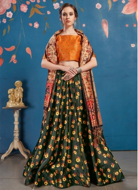 Print Work Satin Silk Trendy Lehenga