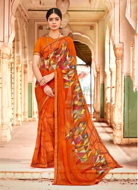 Printed Georgette Trendy Saree in Orange
