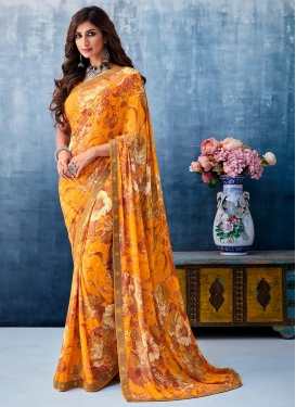 Printed Saree Abstract Print Faux Georgette in Mustard