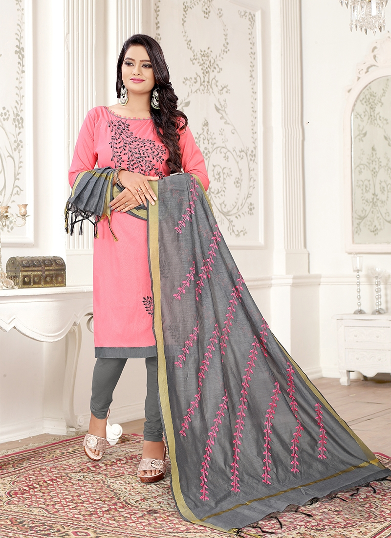 Pristine Grey and Pink Party Trendy Churidar Suit