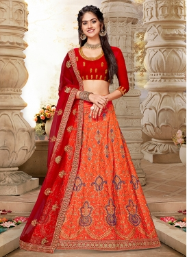 Prodigious Orange Art Silk Lehenga Choli