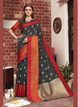 Prominent Art Silk Black Weaving Designer Traditional Saree