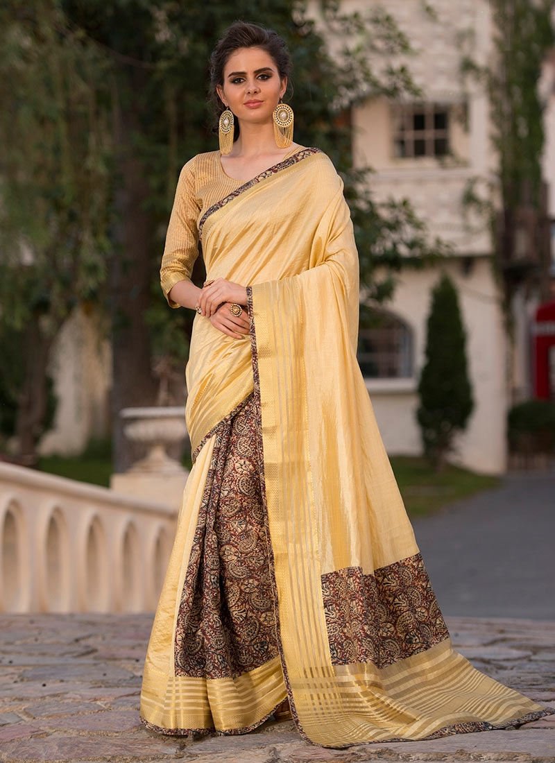 Prominent Cream Party Traditional Saree