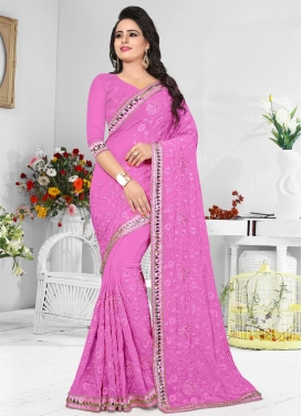 Pure Georgette Embroidered Work Contemporary Style Saree