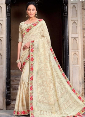 Pure Georgette Embroidered Work Designer Contemporary Saree