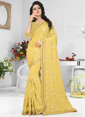 Pure Georgette Embroidered Work Trendy Classic Saree