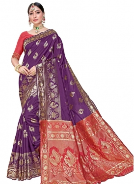 Purple and Red Trendy Classic Saree