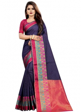 Purple and Rose Pink Cotton Silk Designer Contemporary Saree