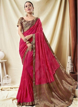 Purple and Rose Pink Embroidered Work Designer Contemporary Style Saree