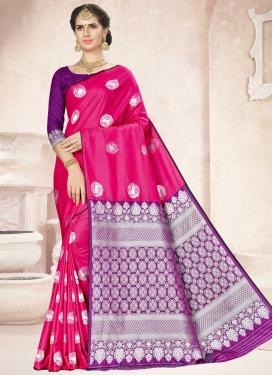Purple and Rose Pink Thread Work Traditional Designer Saree