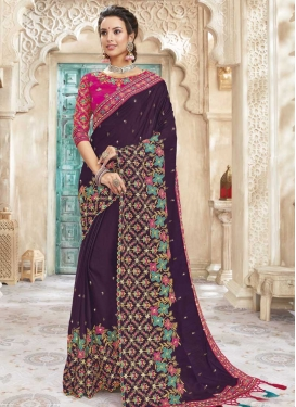 Purple and Rose Pink Trendy Classic Saree